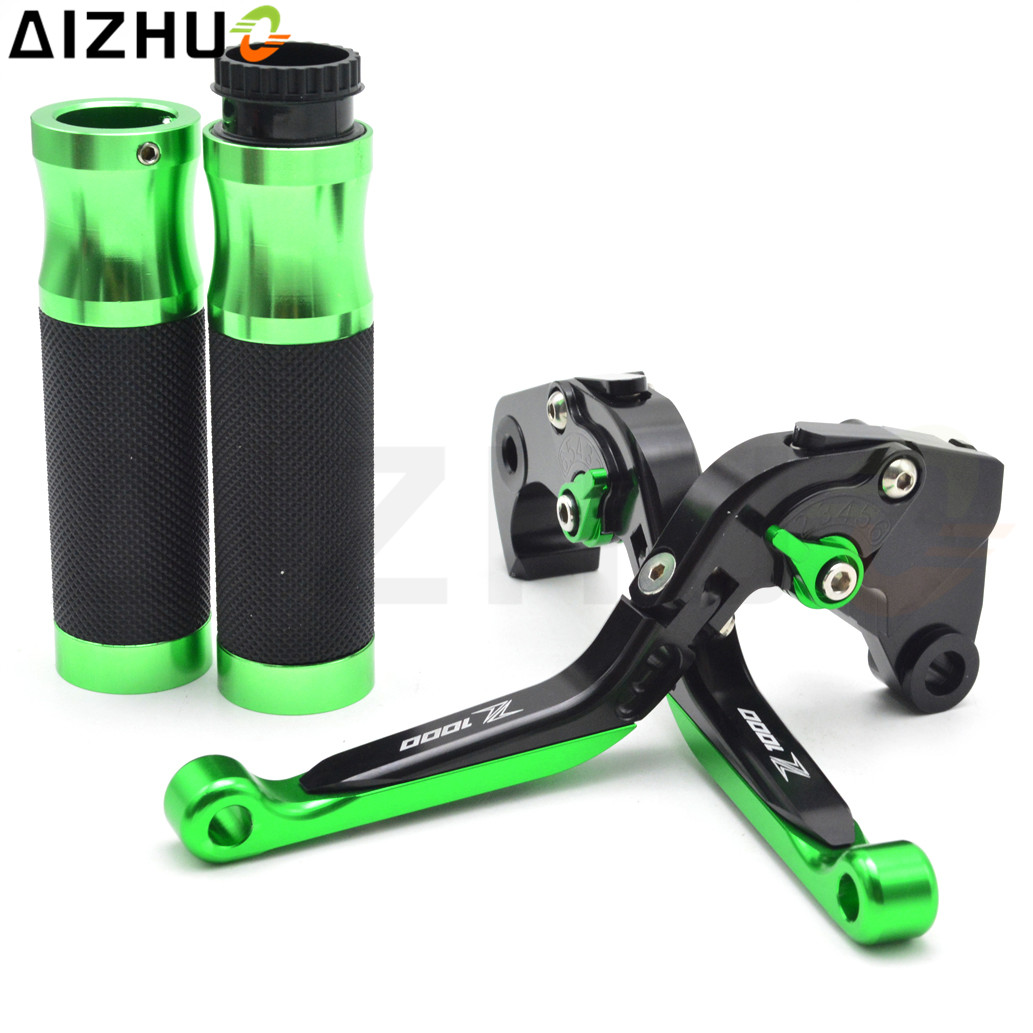 CNC Aluminum Motorcycle Clutch Brake Lever Handlebar Grips With Z1000 LOGO For Kawasaki Z1000 Z 1000 2003 2004 2005 2006