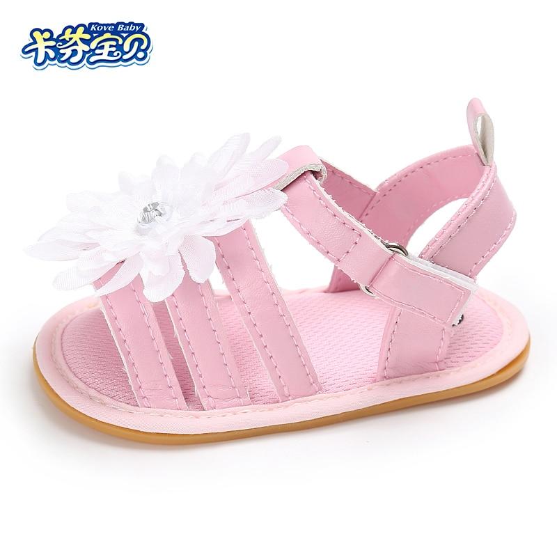 Summer Baby Girls Sandals Newborn Kids Non slip Toddler Shoe Outdoor Shoes Fashion white flowers Hard