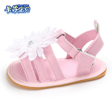 Summer Baby Girls Sandals Newborn Kids Non-slip Toddler Shoe Outdoor Shoes Fashion white flowers Hard Rubber Bottom 0-18 Month