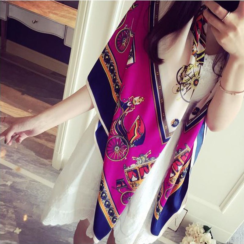 130*130CM Big Square Foulard Horse and Chain Pattern s