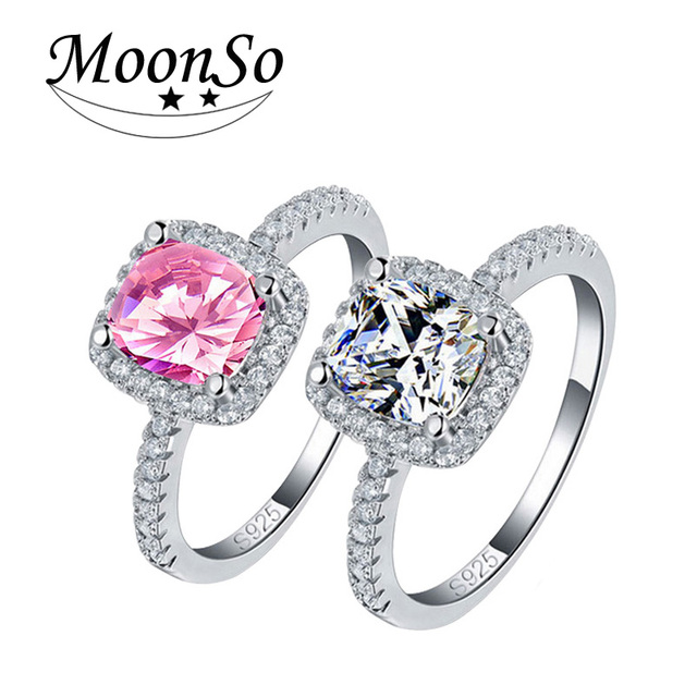Moonso Real 925 Sterling Silver Sapphire Ring Pink Wedding Engagement Zirconia Finger anel CZ for Women Jewelry Pure T0820