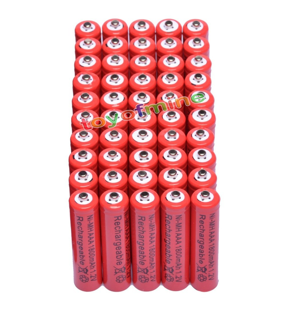 50x AAA 1800mAh 3A 1.2 V Ni-MH Red Rechargeable Battery Cell for MP3 RC Toys