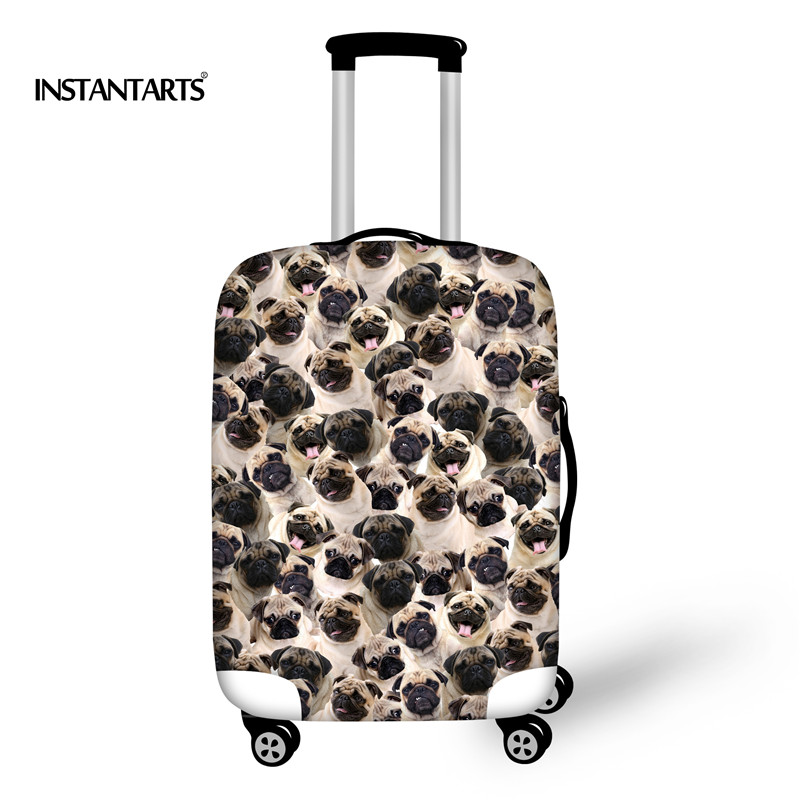 INSTANTARTS Thick Elastic Luggage Protective Covers for 18-30 Case Funny Pug Dog Printed Puzzle Trolley Case 3D Animal Suitcase