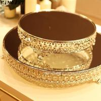 Plate Mirror Tray Decorative Glass Plate Set for Wedding Dessert Cake Mirror Serving Tray Christmas Cake Plate Party Cake Stand