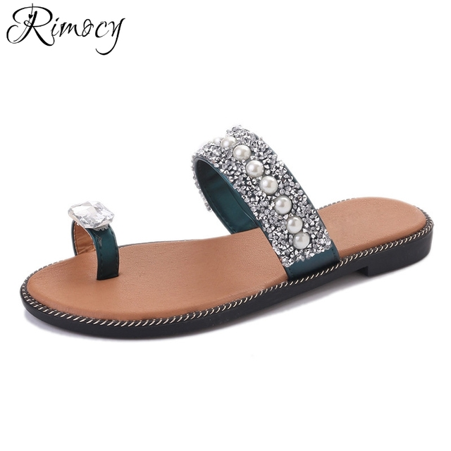 577a0fc3c2f97 Rimocy big rhinestone toe ring summer beach slides women 2017 brand design  bling crystal pearls flat heels slippers shoes woman