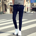 2016 лето мужчины Вэй брюки Тонкие ноги шаровары плюс размер случайный код М-3XL черный и темно-синий цвета