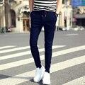 2016 homens de verão código Wei calças pés Magros harem pants casuais plus size M-3XL preto e cores azul marinho