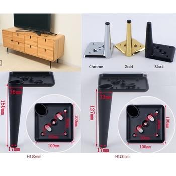 4PCS TV Cabinet Sofa Cupboard Cabinet Furniture  Legs Feet Screws Cone Design Square Base Golden Chrome Black Tapers