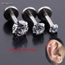 3Pcs(2mm/3mm/4mm) 16Gx6mm White Zircon Gem Bar Lip Piercing 16 Gauge Fake Lip Piercing Earrings Rings Jewelry Women Men