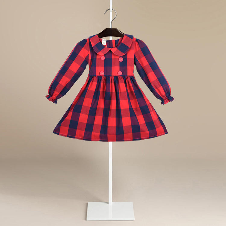 2018 Spring New British Style Children Long Sleeved Plaid Clothes Lapel Cotton Girls Dress Tide Wholesale Kids dress Clothing цены онлайн