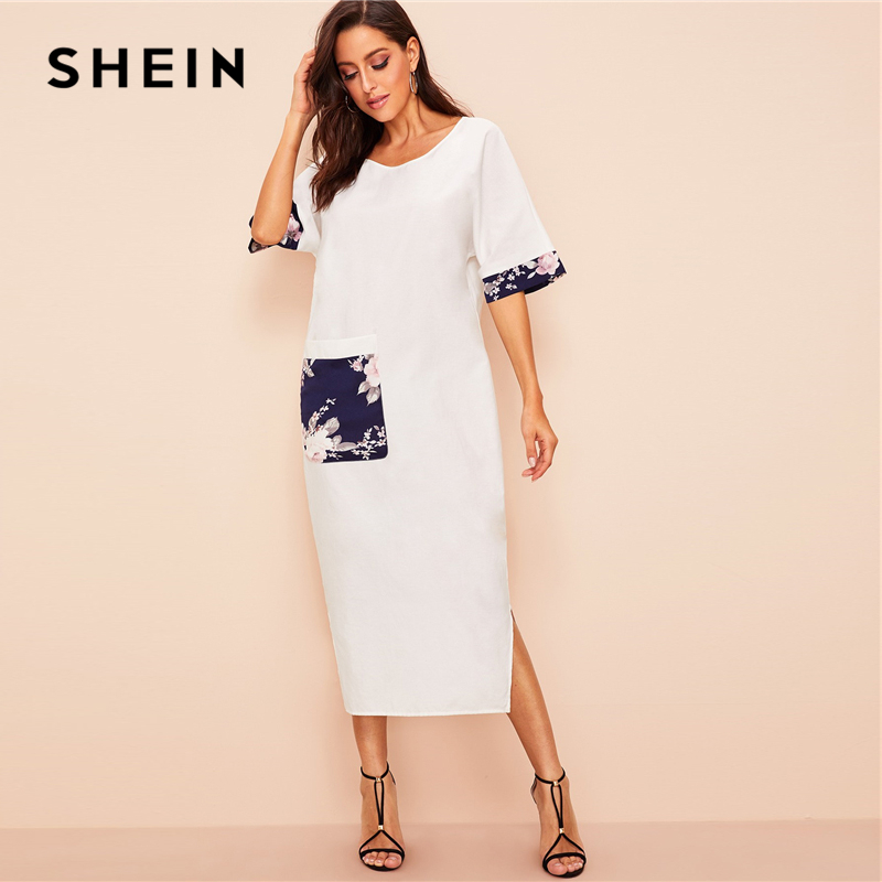 SHEIN платье хиджаб с цветочным принтом и карманом с разрезом, 2019 сказочные женские белые платья с круглым вырезом и коротким рукавом