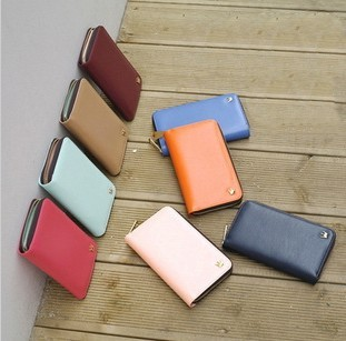New Korea PU Leather Crown Zip Smart Credit Card Holder Phone Case Bag Pouch Long Handy Women Wallet 8 Colors YPBB-14