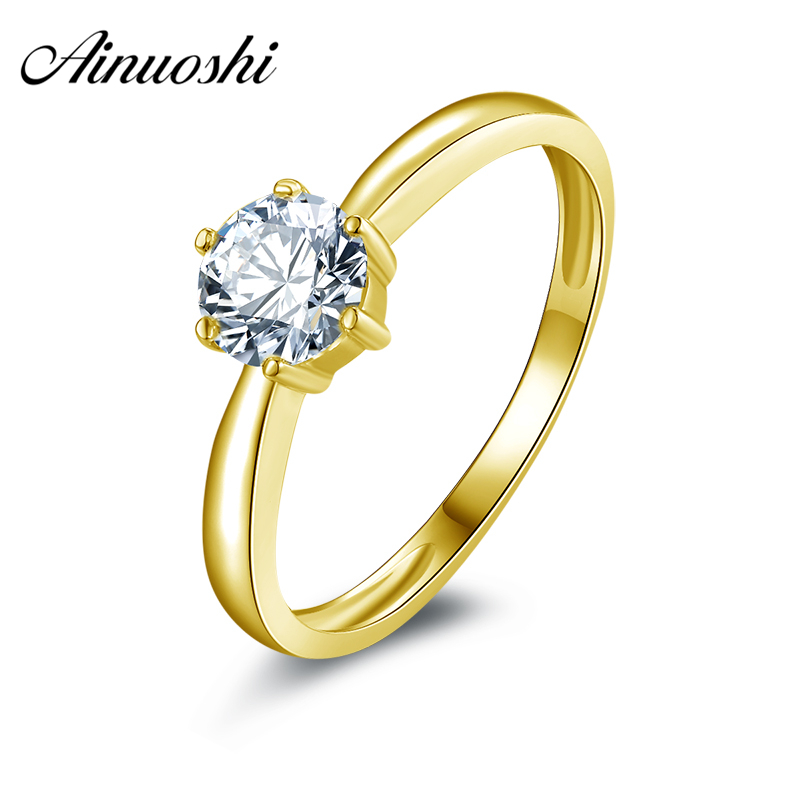 AINUOSHI 10k Solid Yellow Gold Women Engagement Ring Classic Six Claws Solitaire Fine Jewelry Simulated Diamond Wedding Rings