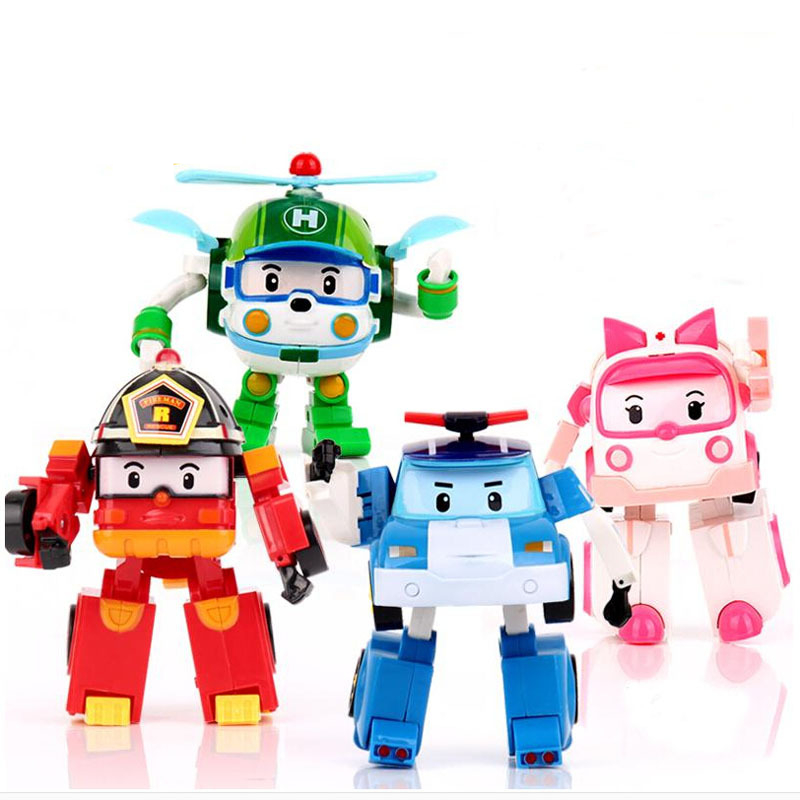 2015 High quality 4pcs/Set Korea robot classic plastic Transformation Toys Toys Best Gifs For Kids free shipping #FB