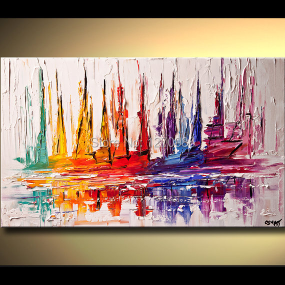 """No Frame MODERN ABSTRACT Hand-Painted OIL PAINTING CANVAS /""""Colorful Boats/"""""""