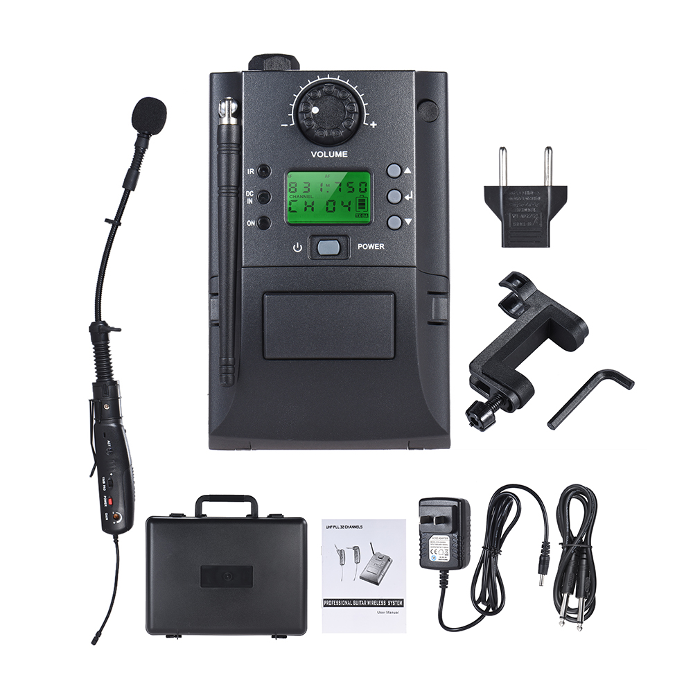 buy portable uhf instrument wireless microphone system with receiver. Black Bedroom Furniture Sets. Home Design Ideas