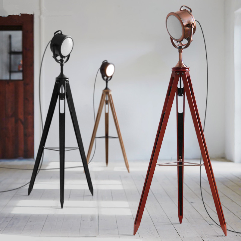Vintage Floor Lamps tripod lamp Loft Machinery Industry Standing Lamp for Living Room Retro searchlight lamp Light Fixture E114