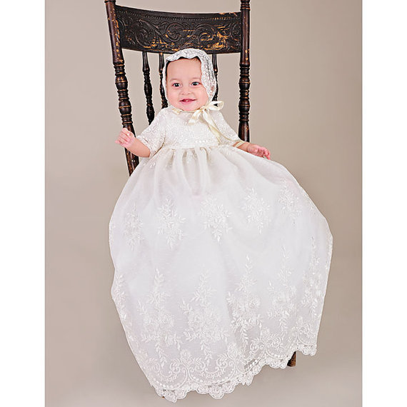 Royal 2016 Newborn Heirloom Dedication Christening Gown Toddlers Blessing Dress with Bonnet  Baby Baptism Robe For Boys Girls