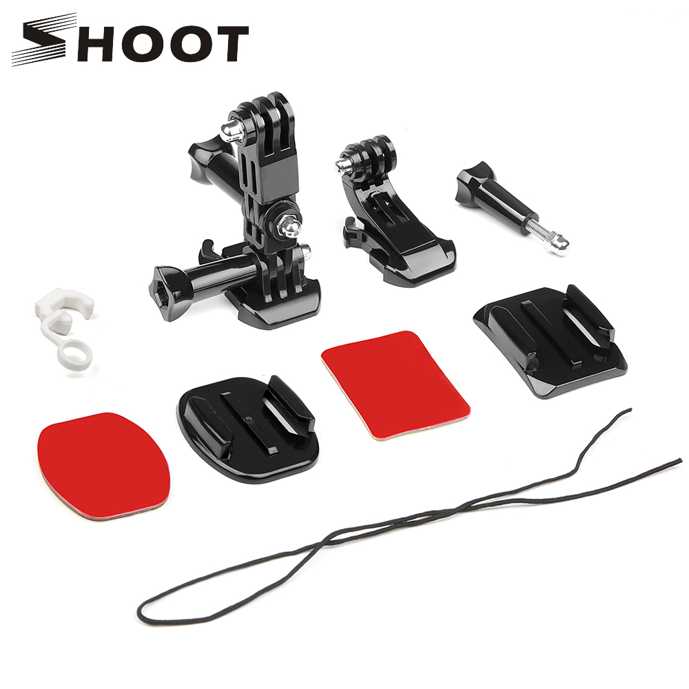 SHOOT Front Side Helmet Accessories Set J-shaped Buckle Base Support Mount for GoPro Hero 5 6 7 4 Xiaomi Yi 4K SJCAM Go Pro Kits jd коллекция kt8031 серый черный 100