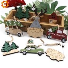 2PCS Vintage Printed Wooden Deer/Tree/Car Christmas Pendants Ornaments DIY Wood Crafts Kids Gift Tree Decor
