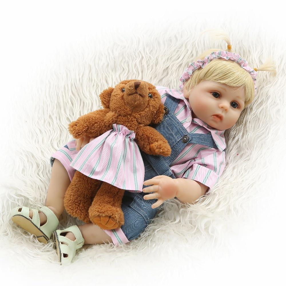 NPK 19 48cm Reborn Dolls Baby Girl Full Silicone Vinyl Body Realistic Princess Babies Doll with Teddy bear Kids bath toy gift