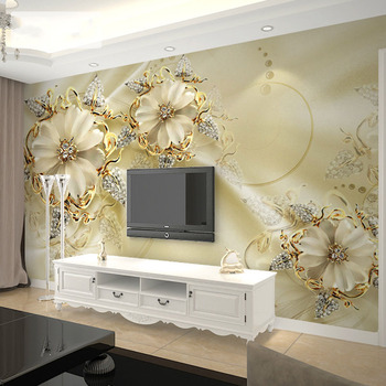 European Style Jewelry Flower TV Background Wall Custom Mural Wallpaper Home Improvement Bedroom Wall Paper Wallcoverings 6
