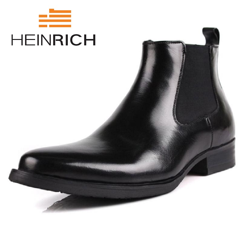 Masculino Sapatos Inverno Homens Chaussures Black Couro De Marca En Moda Botas Heinrich Outono brown Hommes Cuir Designer Chelsea pRwEz