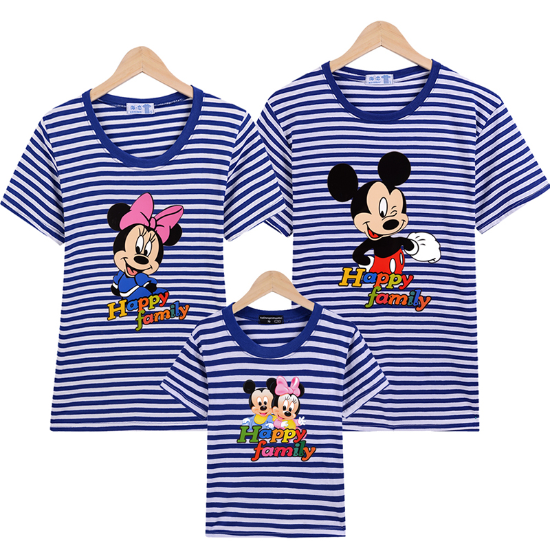 1 Piece Family Look Blue Stripe Quality Couple T Shirt Cartoon Female Male Summer 2017 Short Sleeves Dad Mommy And Me Clothes