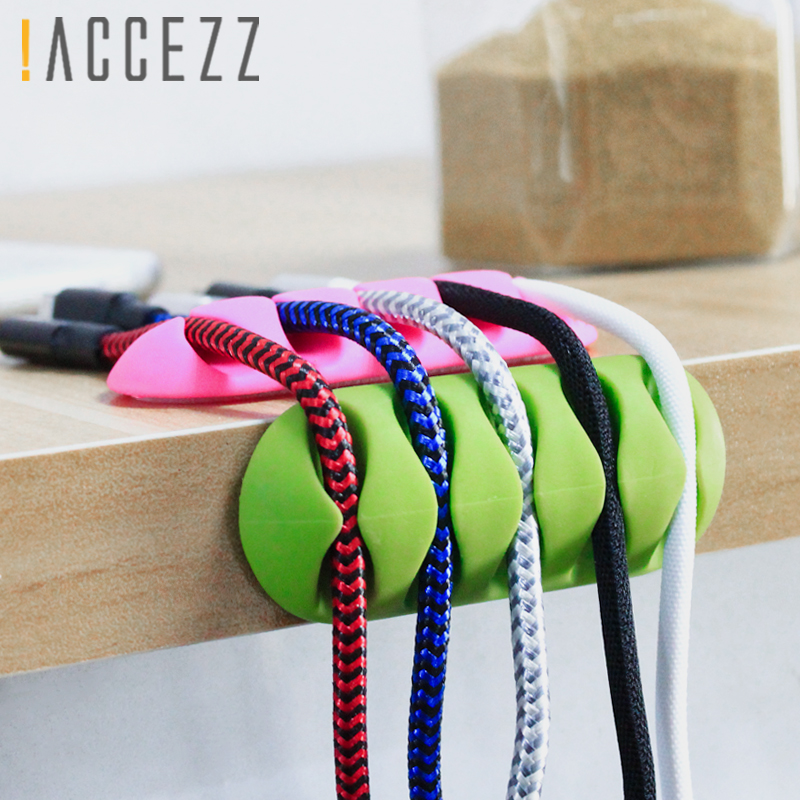 !ACCEZZ 3PC Winder <font><b>Earphone</b></font> Cable Organizer Wire Soft <font><b>Silicon</b></font> Charger Storage <font><b>Holder</b></font> Clips USB Cord Mouse 5 Hole Desk Management image