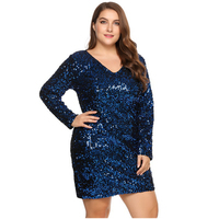 Womens Large Size Sequined Bodycon Mini Dress Sexy V Neck Sparkle Shining Slim Cocktail Club Party Short Dresses For Ladies 5XL