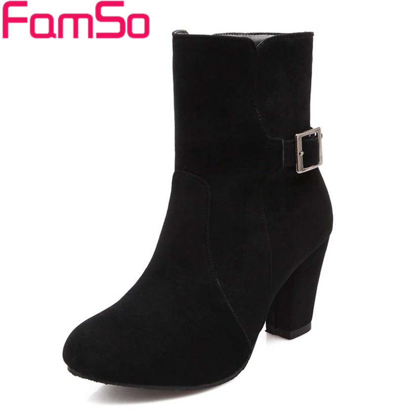 Plus Size34 43 2016 new Arrival font b Women b font Boots buckle High Thick Heels