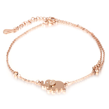 316L Steel Cute Elephant Woman Anklets Trendy Rose Gold Plated Stainless + Cubic Zirconia Women Ankle Jewelry