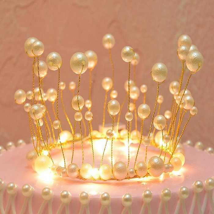 cake topper banner for DIY Cupcake Wrapper Baking Cup birthday/wedding party bar Table artificial pearl crown light Wh