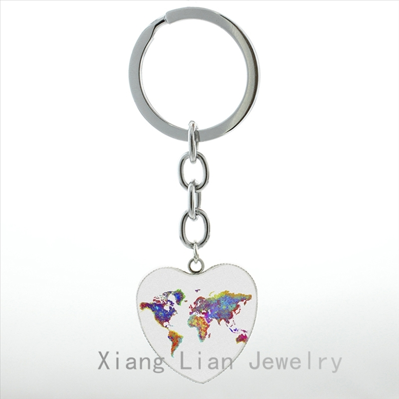Watercolor World Map illustration keychain London New York Paris skyline Poster Giclee picture pendant key chain ring gift HP240