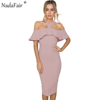 Nadafair Ruffles Cloak Sleeves Halter Sexy Club Bodycon Party Dress Summer Midi Slim Women Casual Dress