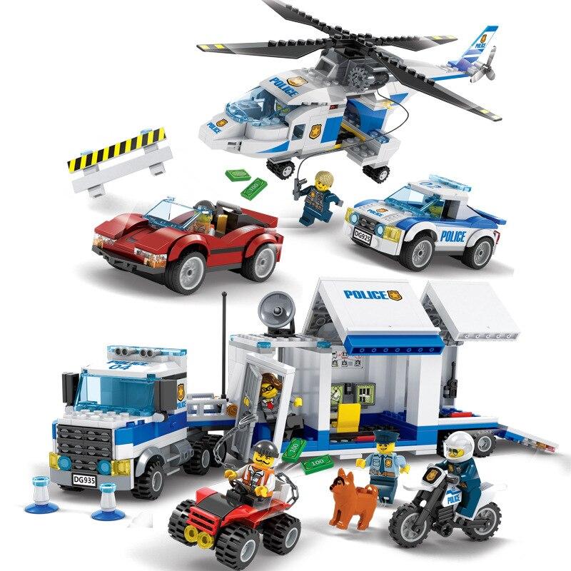 Urban Police City Series Building Blocks Bricks High Speed Hunting Mobile Command Center Police Station Figure Compatible Legoe