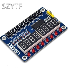 10pcs TM1638 key digital LED display module (eight digital tube LED button) with Dupont line