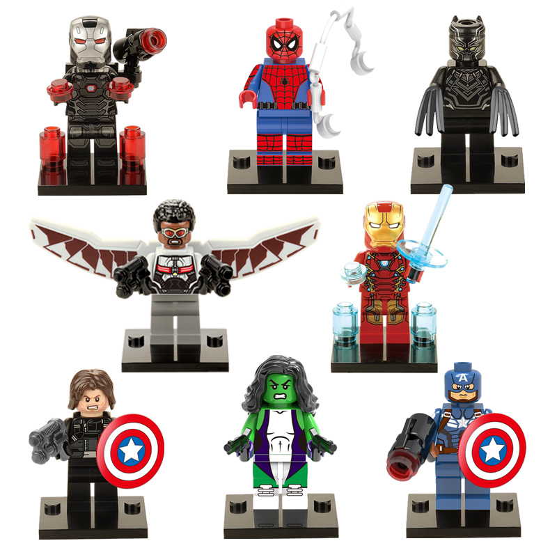 Audacious 8pcs X0114 Marvel Super Heroes Falcon Spider-man Iron Man She-hulk Black Panther Captain America 3 Civil War Model Building