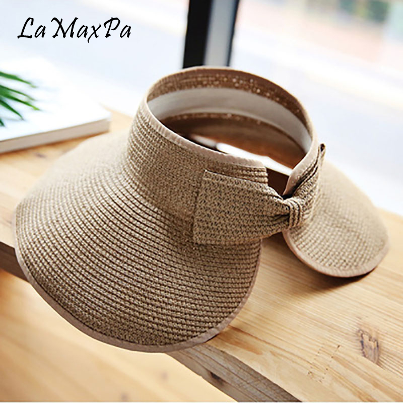 3e64f04d JIYOUOU Lace strap straw hat bow wide grass female summer cap beach visor  outdoor holiday beach
