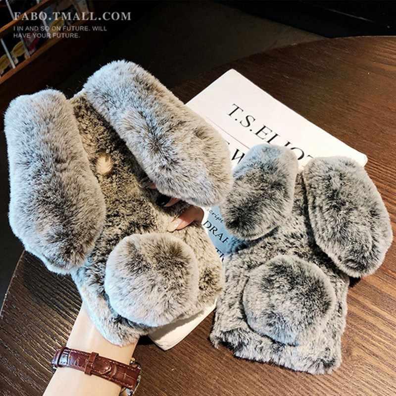 リアルウサギの毛ふわふわ Zte ヌビア Z17 Lite Z11 ミニ S M2 Z18 Z17S ウサギの毛皮のダイヤモンドデザインケース Capinha