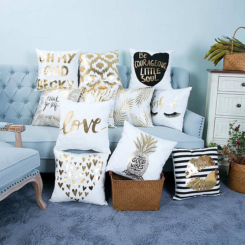 1pc 45x45cm Bronzing Cushion Cover Gold Printed Pillow Cover Sofa Seat Car Bedroom Office Decorative Throw Pillowcase Home Decor
