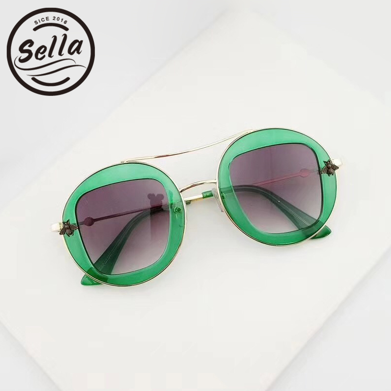Apparel Accessories Helpful Sella Luxury Brand Designer New Fashion Women Retro Round Sunglasses Colorful Transparent Frame Honey Bee Decoration Sun Glasses Let Our Commodities Go To The World