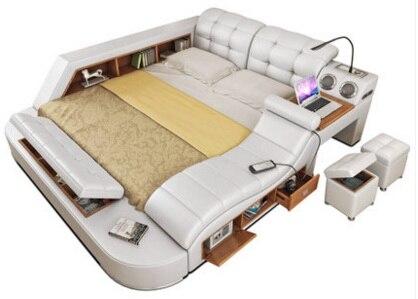 Frame da cama de couro Genuíno Real Suave massagem Camas Mobília do Quarto Casa aceso camas muebles de dormitorio yatak mobilya quarto aposta