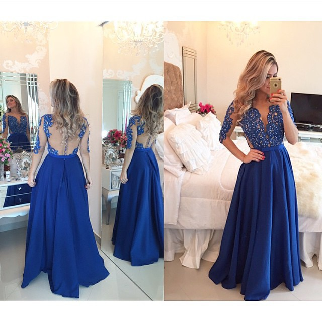 Hot 2017 Royal Blue A-line Long   Evening     dresses   Half Sleeve Sheer Back Beading Prom   Dress   Vestido de noche Robe de soiree longue
