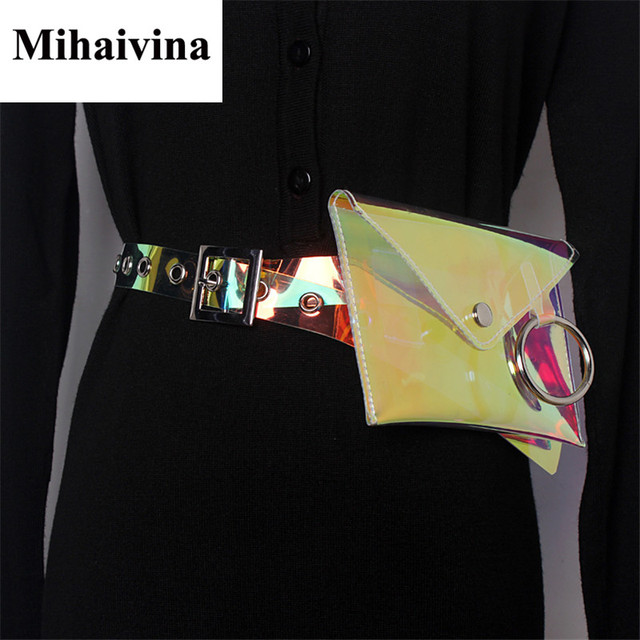 Mihaivina Wholesale Women Waist Packs Transparent Luxury Brand Waist Bag Fashion Waterproof PVC Belt Bags Casual Fanny Pack Bag