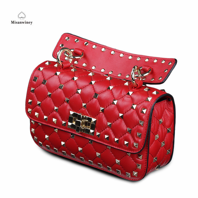 Misanwiney Bolsa Feminina Rivet Clutch Tote Bag Luxury Handbags Women Bags Designer Sheepskin Famous Brands Chains Shoulder Bag ludesnoble luxury handbags women bags designer shoulder bag female bags women bags handbags women famous brands bolsa feminina