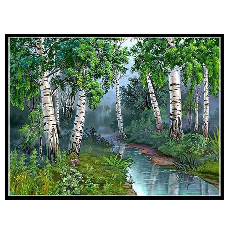 Golden Panno Needlework Embroidery DIY Landscape Painting Cross stitch kits 14ct Yang tree home Cross stitch Sets For Embroidery|cross stitch|set for embroidery|embroidery diy - title=