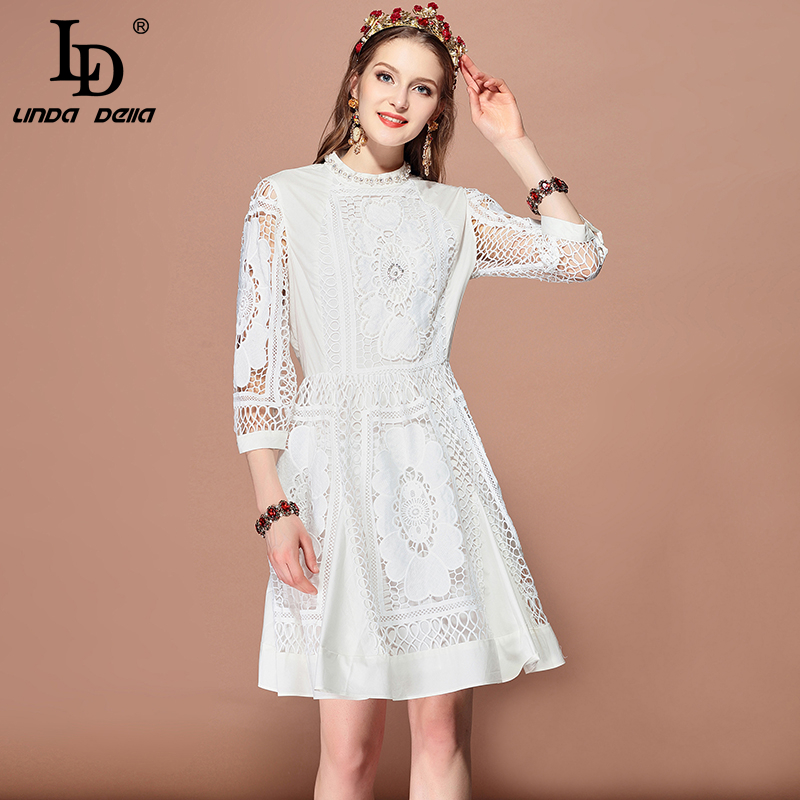 LD LINDA DELLA Fashion Runway Spring Summer Dress Women s 3 4 Sleeve Hollow out Beading