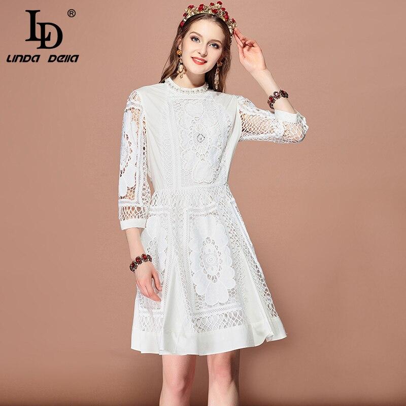 LD LINDA DELLA Fashion Runway wiosna lato sukienka damska 3/4 rękaw Hollow out frezowanie Casual elegancka biała sukienka vestido w Suknie od Odzież damska na  Grupa 1
