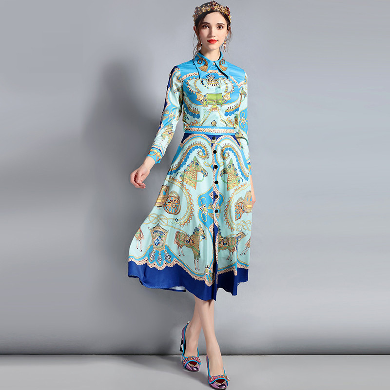 European and American fashion new womens 2018 spring printing lapel dark buckle long sleeve + waist A word swing skirt suit